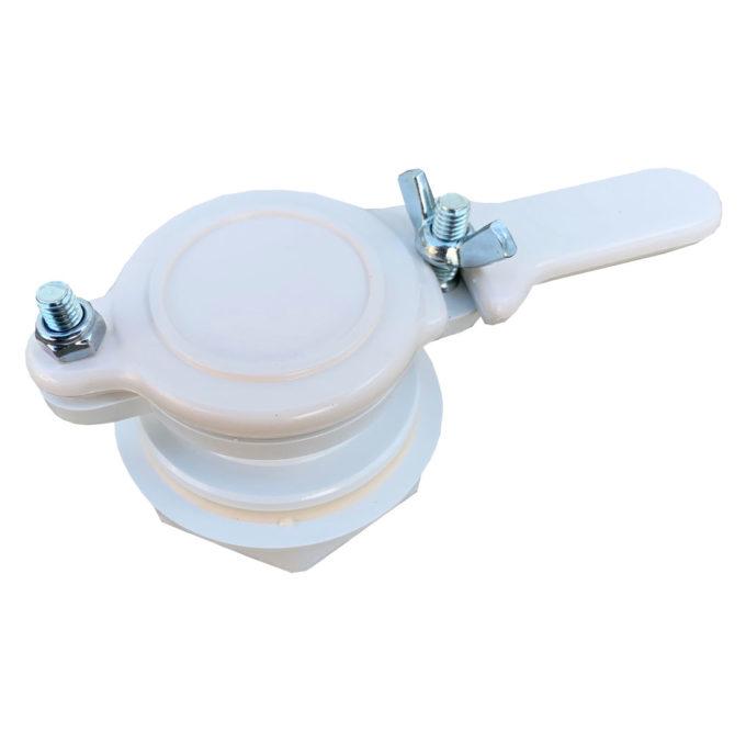 Quetschhahn 40mm aus Kunststoff für Honigeimer zum abfüllen.