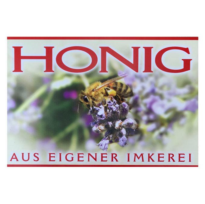 Werbeschild Honig aus eigener Imkerei rot weiss