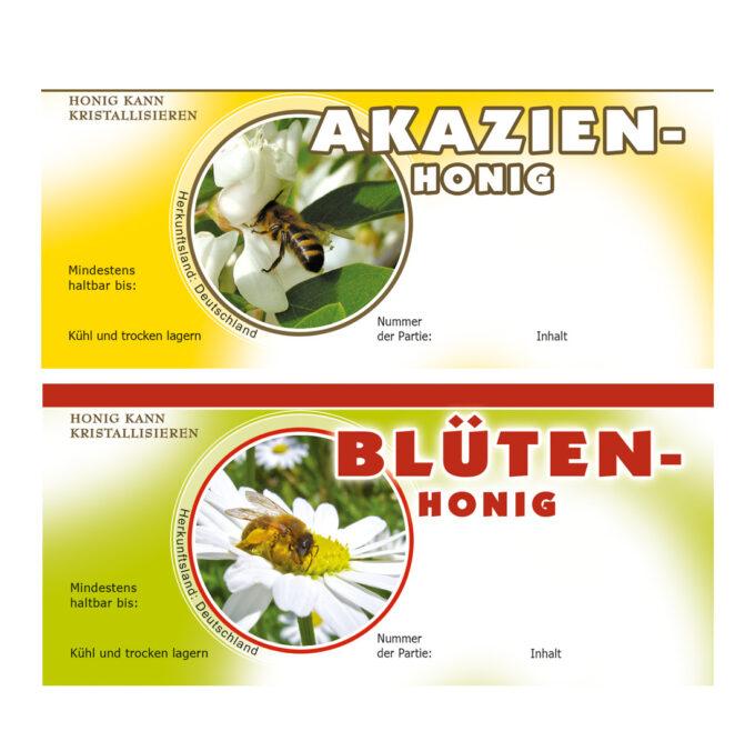 Etiketten für Honiggläser Lindenhonig Rapshonig Waldhonig Akazienhonig
